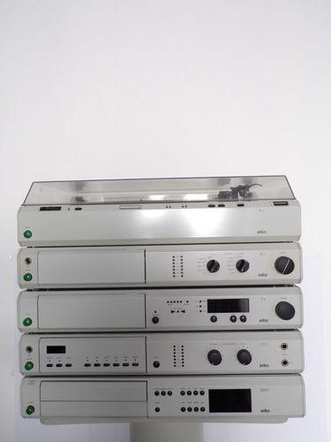 Komplett-Anlage Braun Atelier HiFi T1 A1 C1 CD2//3 P1 AF1 sehr gt Zustand grau