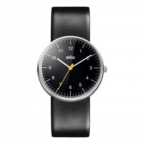 Braun BN0021 gents wristwatch, black, watch with leather strap, brand new