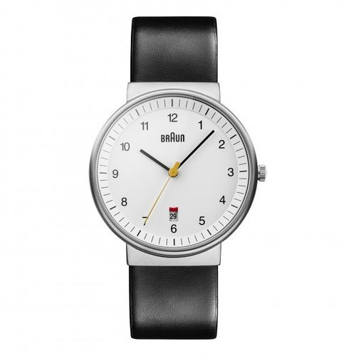 Braun BN0032 gents classic watch with leather strap, white, elegant design, brand new