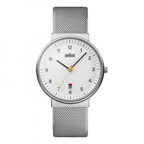Braun BN0032 gents classic watch with mesh bracelet, white, elegant, brand new