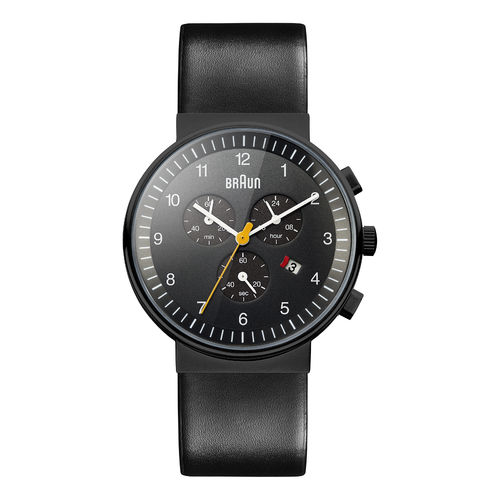 Braun BN0035 gents classic chronograph watch leather strap, black, brand new
