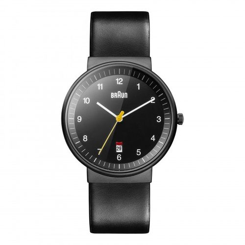 Braun BN0032 gents classic watch with leather strap, black, elegant design, brand new