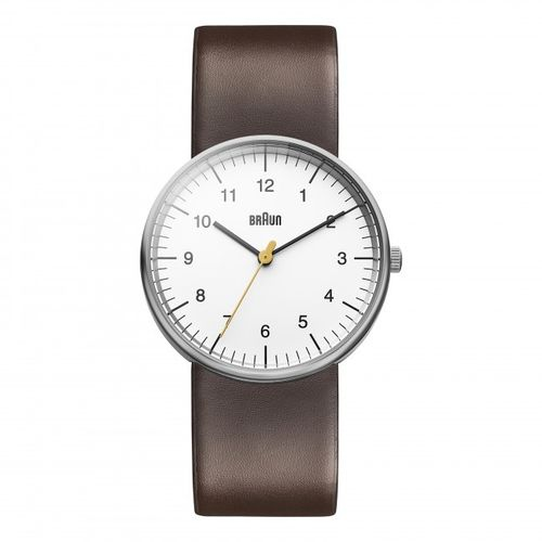 Braun BN0021 gents wristwatch, white, watch with leather strap, brand new