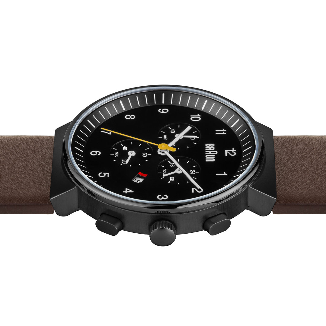 c3a620e566b47 ... Braun gents BN0035 classic chronograph watch with leather strap