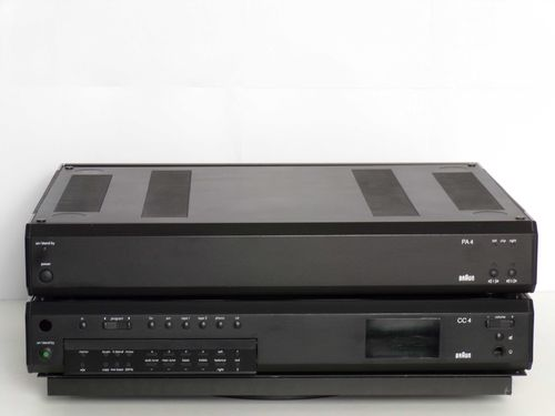 Stereo set braun pre-amplifier CC4 and power amplifier PA4, black, mint condition