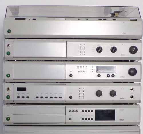 Stereo-system Braun Atelier HiFi T1-A1-C1-CD2/3-P1 , grey, very good condition