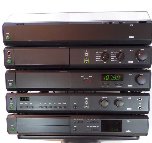 Stereo-system Braun Atelier HiFi T2 A2 P2 C2 CD2 very good condition