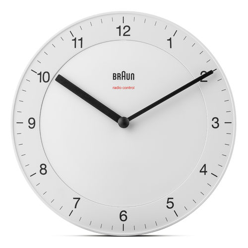 Braun Design BC06W-DCF radio controlled analogue wall clock, white, 67013