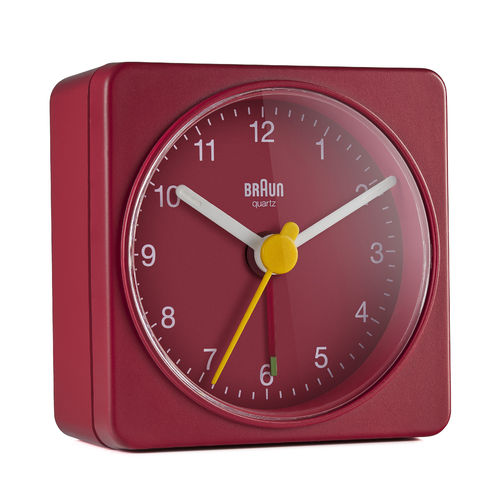 Braun BC02R, classic travel analogue alarm clock, new, red, 67081