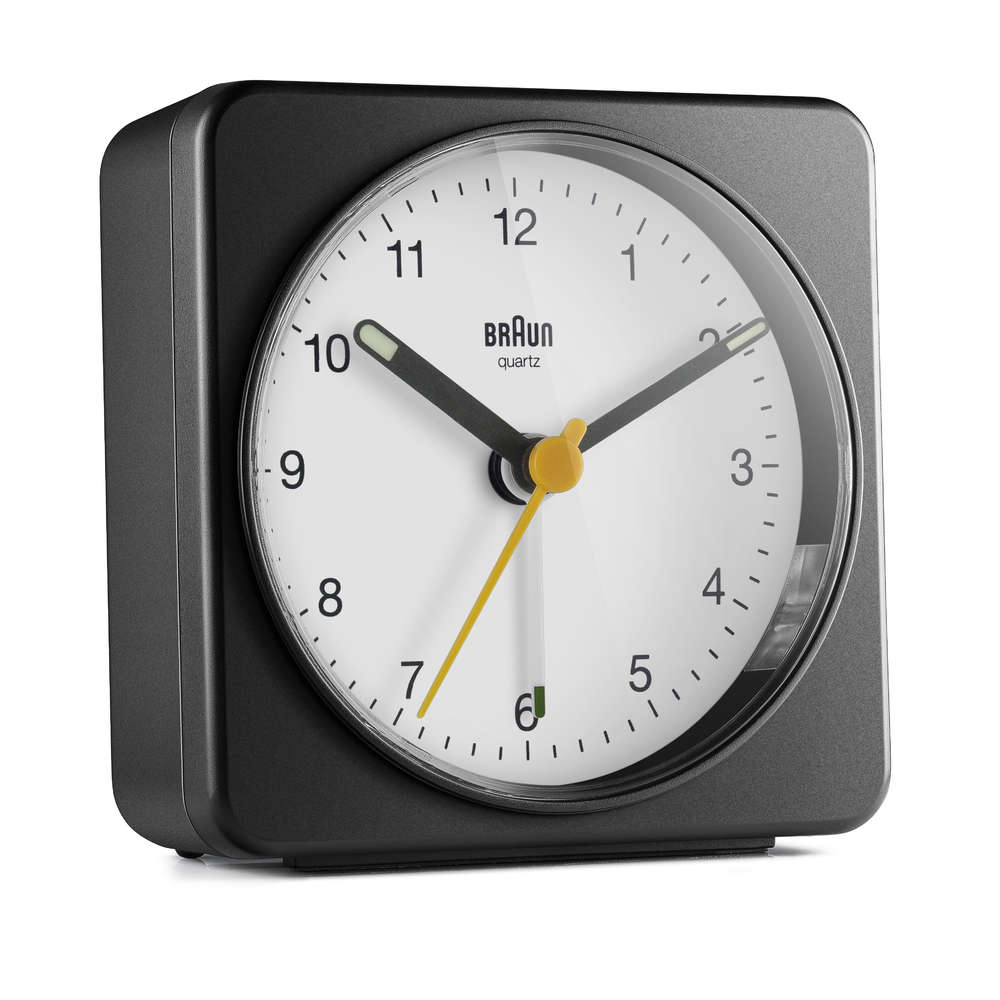 Braun Classic Analogue Alarm Clock with Snooze and Light Model BC03BW. Quiet Quartz Sweeping Movement Crescendo Beep Alarm in Black and White