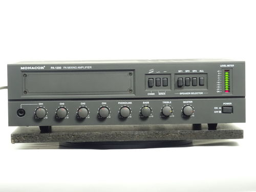 Monacor PA 1200 amplifier, black, very good condition, 5485/R01/0010055